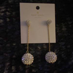 Kate Spade ♠️ gold crystal dangling earrings new